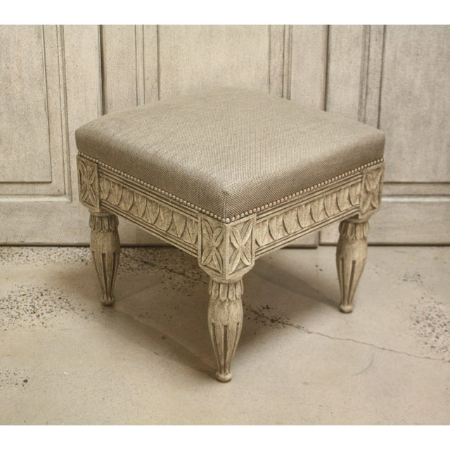 2010s Swedish Gustavian Tan Stool For Sale - Image 5 of 5