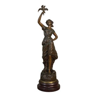 Antique French Spelter Statue of Maiden by Rullony For Sale