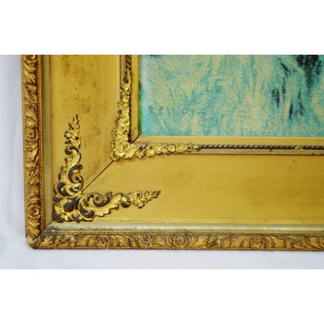 """Vintage Gold Gilt Framed Renoir """"Boating on the Seine"""" Print on Board For Sale In Philadelphia - Image 6 of 13"""