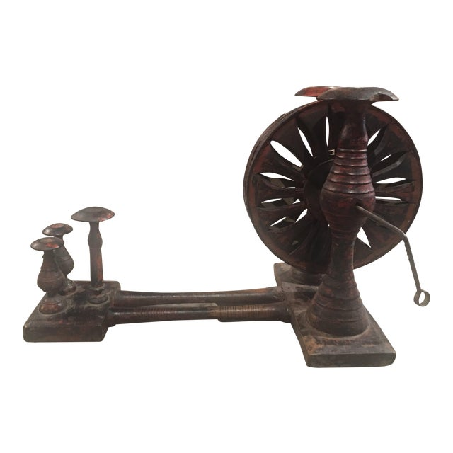 Antique Distressed Red Spinning Wheel For Sale