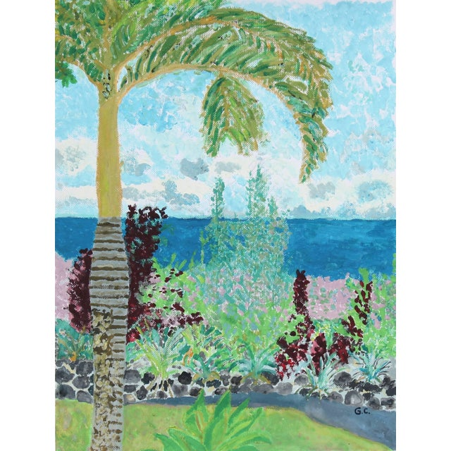 "Contemporary Gaétan Caron ""Tropical Garden"" Hawaiian Landscape With Palm Tree in Gouache, 2016 For Sale - Image 3 of 3"