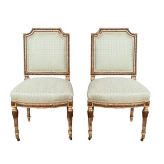 Light Gree Fabric Sheraton Chairs- A Pair For Sale