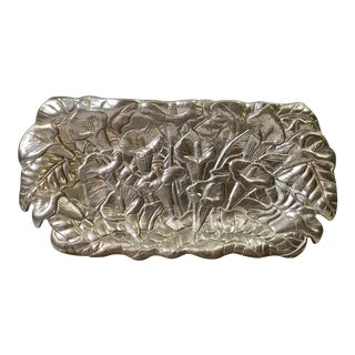 Arthur Court Collectable Pewter / Armatale Decorative Tray for Use in Kitchen or Display, Embossed With Calla Lilies. Aluminum Hallowware Silver For Sale