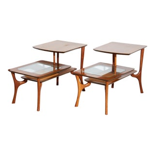 Pair of Wood and Glass Side Tables For Sale