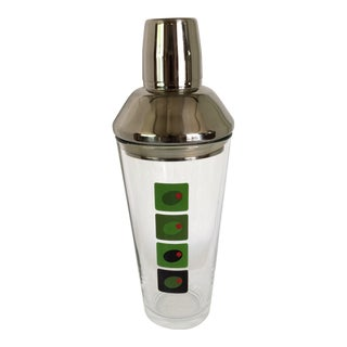 Vintage Four Olive Glass Cocktail Shaker