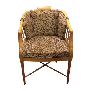Faux Bamboo Leopard Chair