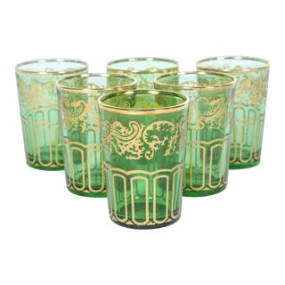 Moroccan Green and Gold Moorish Glasses - Set of 6 For Sale