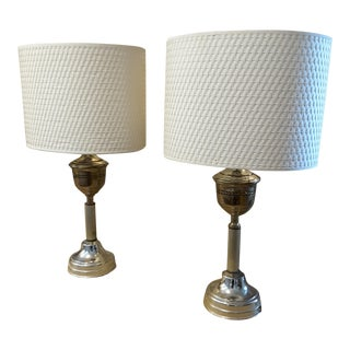 Vintage Brass Silver Metal Lamps - A Pair