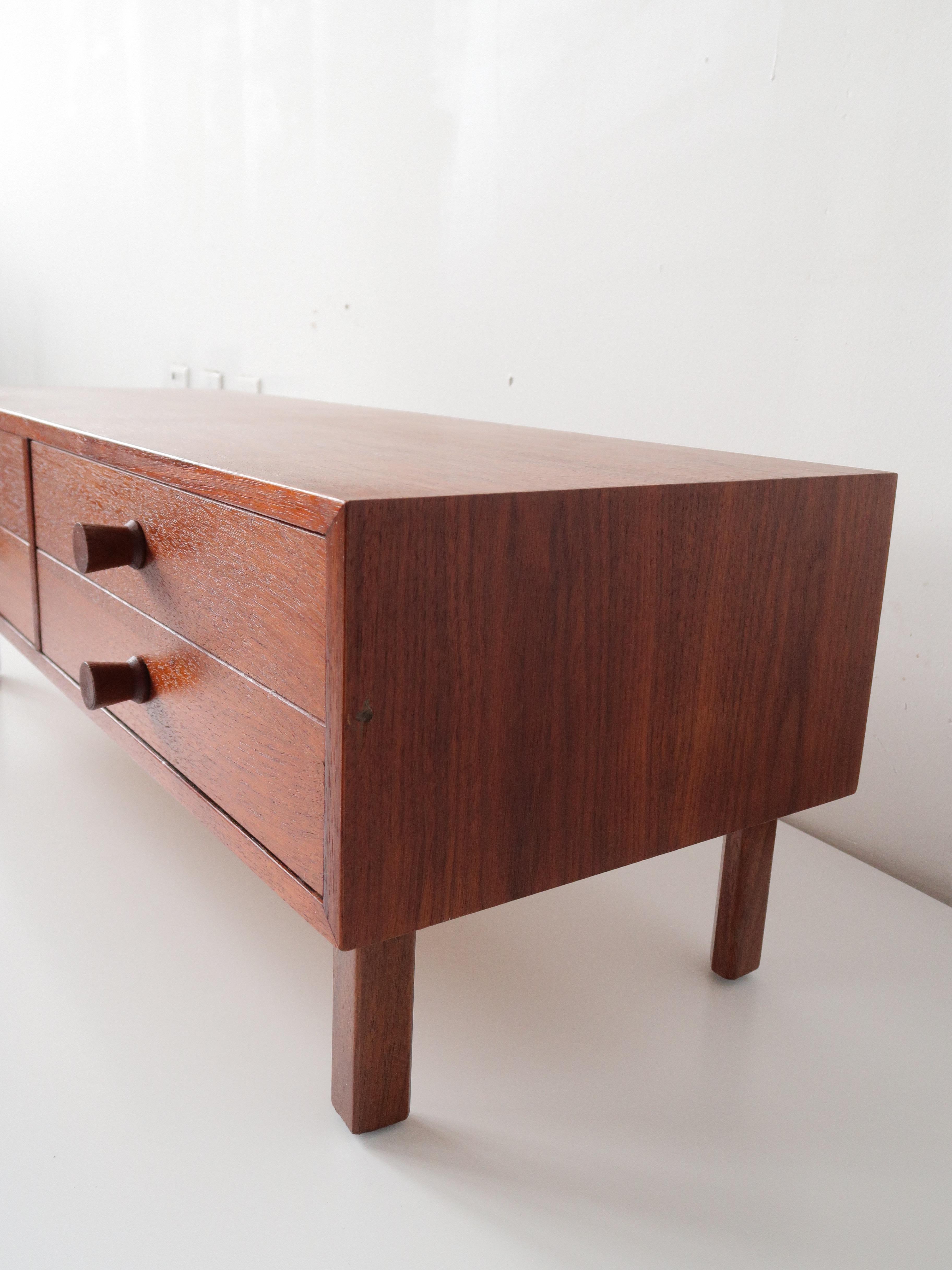 Vintage Teak Mini 4 Drawer Storage Piece / Jewelry Box Sits Nicely On Top  Of A