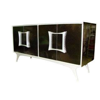 Brutalist Metal Laminate Vanleigh Credenza For Sale