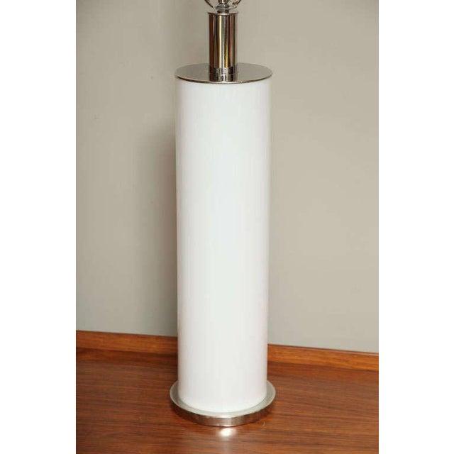 Sleek Italian Nickel & Acrylic Column Table Lamps - Image 7 of 7
