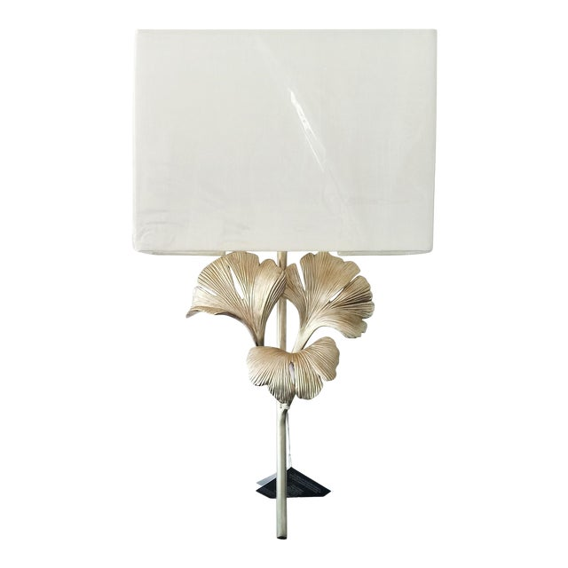 Currey and Co. Gingko Silver Wall Sconce For Sale