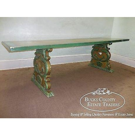 High quality, large rectangular top dining table w/ carved, splay legs & distressed paint. In need of restoration, signed...