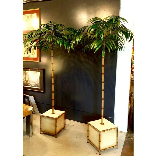 Mid 20th Century Pair of Tall Regency-Style Tole Palm Trees For Sale - Image 5 of 5
