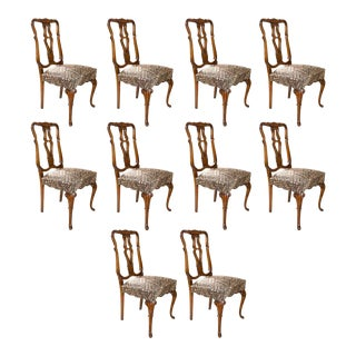 Queen Anne Style Dining Chairs - Set of 10