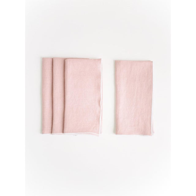 Rosewater with White Trim Linen Napkin - Set of 6 For Sale - Image 4 of 5