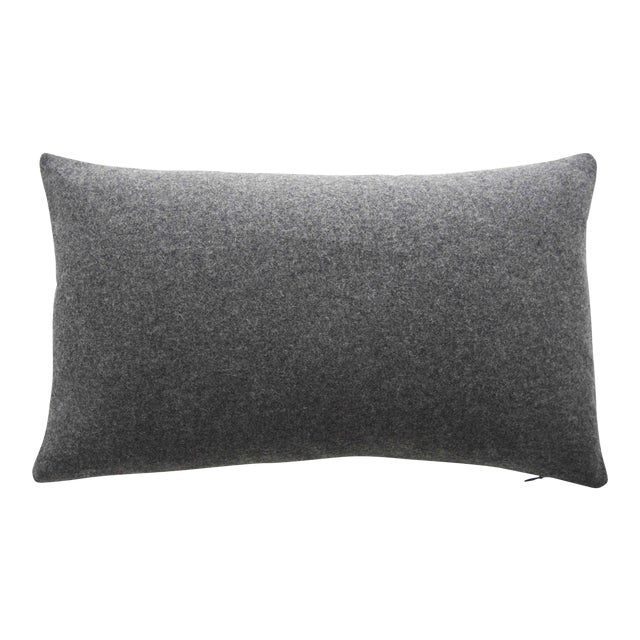 FirmaMenta Italian Gray Sustainable Wool Lumbar Pillow For Sale