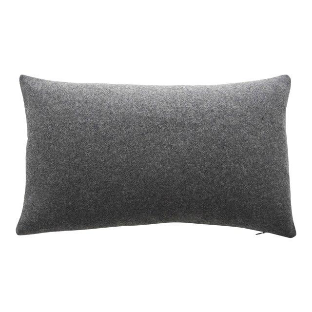 Italian Gray Sustainable Wool Lumbar Pillow - Image 1 of 6