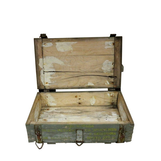 1950s Military Crate Wooden & Metal Ammo Box - Image 2 of 5