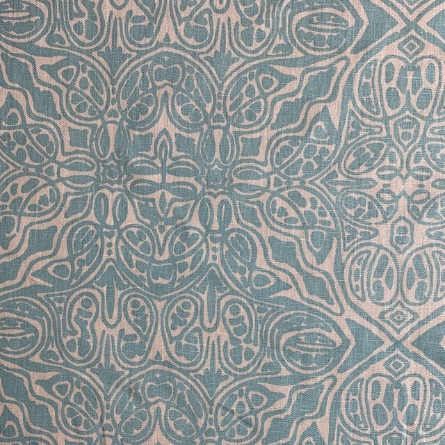 Quadrille Turquoise Linen Fabric For Sale