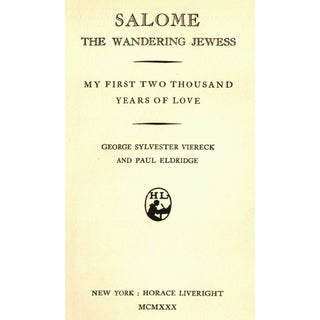 """""""Salome: The Wandering Jewess"""" by George Sylvester Viereck and Paul Eldridge Preview"""