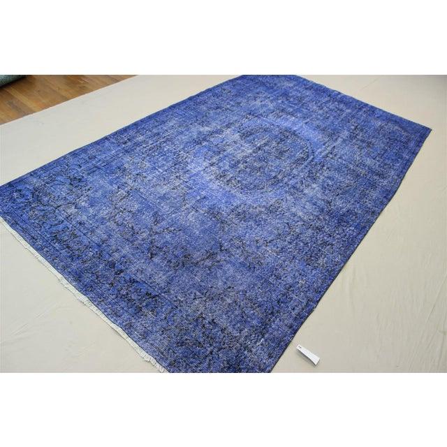 Dark Blue Turkish Over-Dyed Rug - 6′1″ × 10′4″ - Image 4 of 9