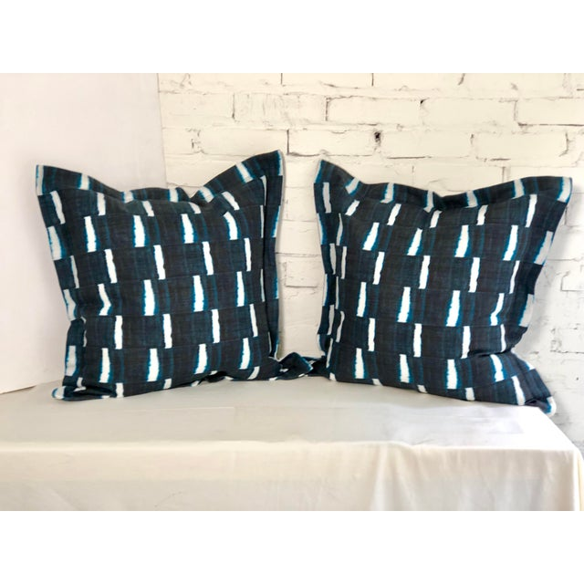 "Pair of 24"" Indigo Dyed Linen Pillows by Jim Thompson For Sale - Image 4 of 10"