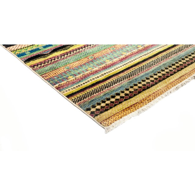 """New Hand-Knotted Striped Tribal Rug - 8'1"""" X 8'2"""" - Image 2 of 3"""