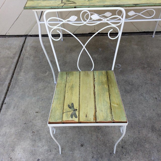 Metal Vintage Woodard Metal and Bead Board Patio Set - Table and 4 Chairs For Sale - Image 7 of 13