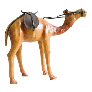 1950s Asian Antique Leather Camel Figurine For Sale
