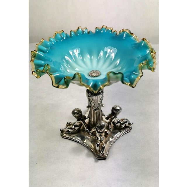 19th Century French Silver Plated Opaline Glass Bowl Centerpiece by Louis Philippe For Sale - Image 13 of 13