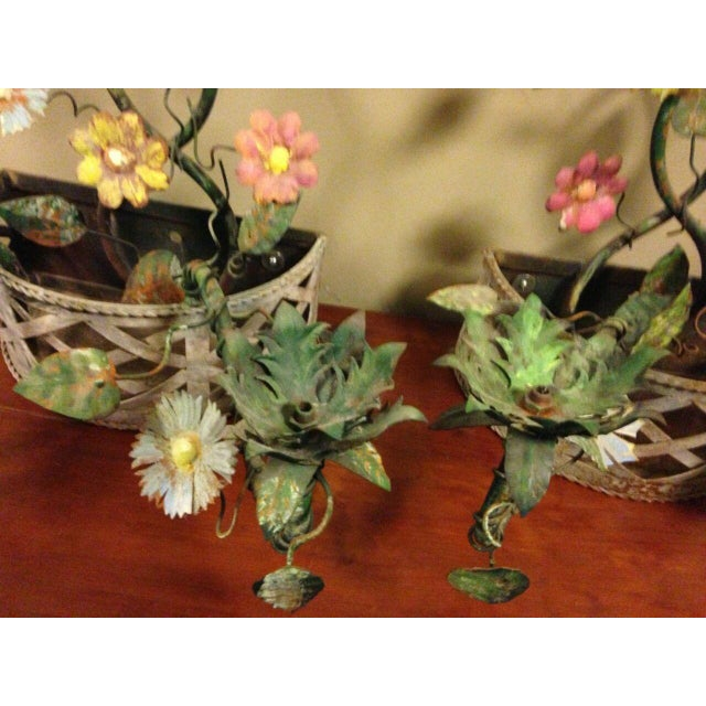 19th Century French Tole Ware Floral Bouquet Wall Sconces/Baskets - a Pair For Sale In Minneapolis - Image 6 of 13