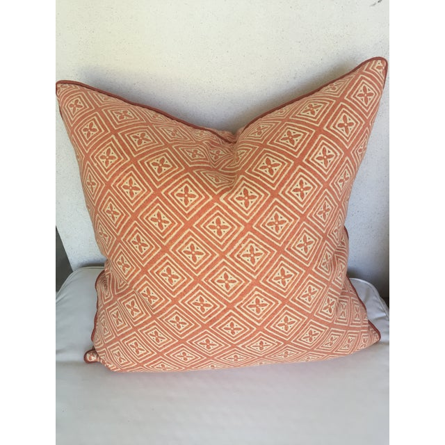 """Pair of orange and cream vintage Fortuny cotton throw pillows with 1/4"""" cotton cord trim, down feather fill. 20"""" x 20"""""""