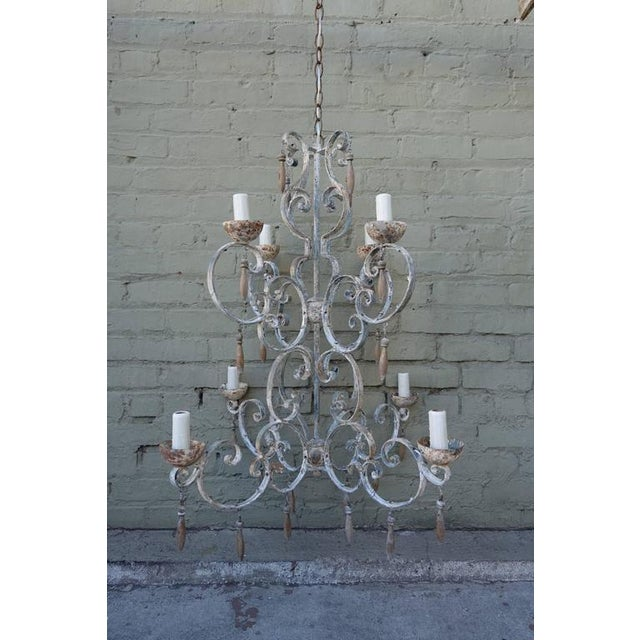 8-Light Painted Italian Chandelier with Drops - Image 2 of 8