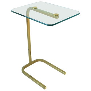 Brass and Glass Side or Drinks Table For Sale