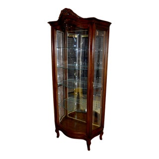 Vintage Italian Style Lighted Curio With Serpentine Glass For Sale