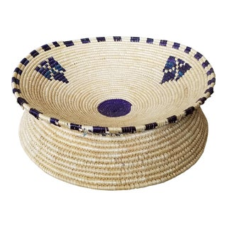 African Raised Basket Bowl & Wall Art For Sale
