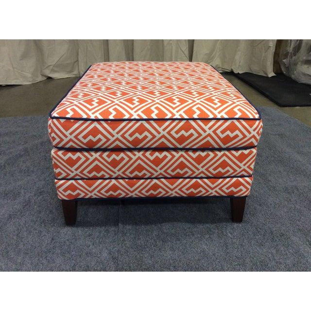 Vintage Orange & White Ottoman For Sale - Image 4 of 8