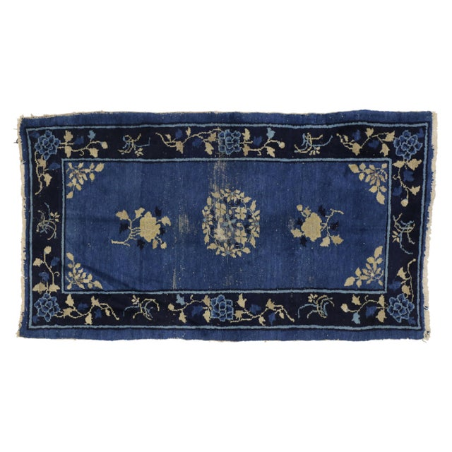 Textile Early 20th Century Antique Blue Chinese Art Deco Rug For Sale - Image 7 of 8