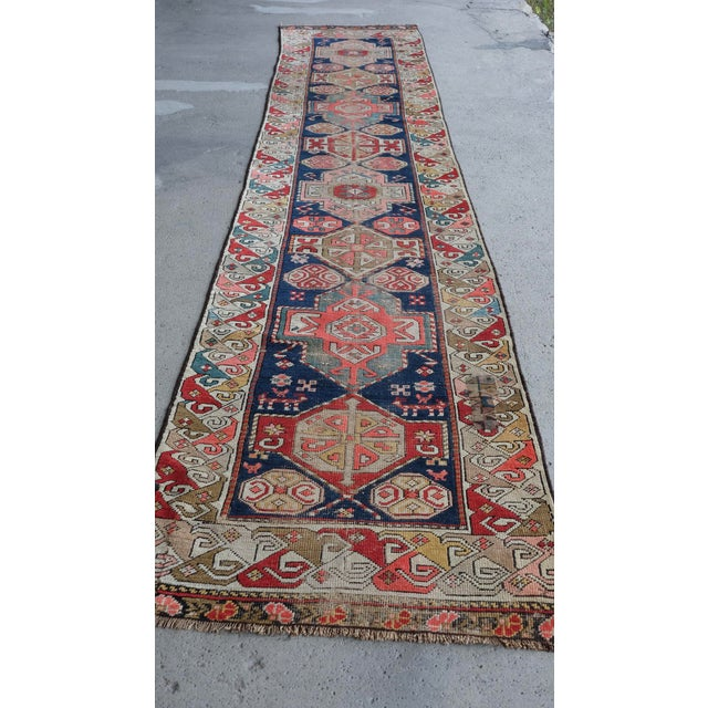"Antique Caucasian Runner dimensions: 2'8""x13'3"" very low pile, vegetable dyed note: A Caucasian Runner from circa 1910s..."