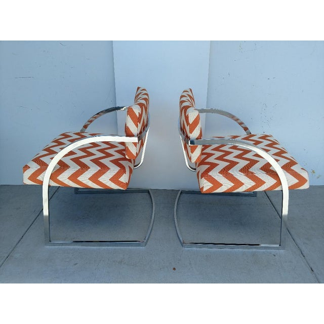 1970s Milo Baughman Newly Upholstered Chrome Armchairs, Vintage - Pair For Sale - Image 5 of 13