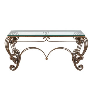 Vintage Rococo Wrought Iron and Glass Patio Console or Hall Table For Sale