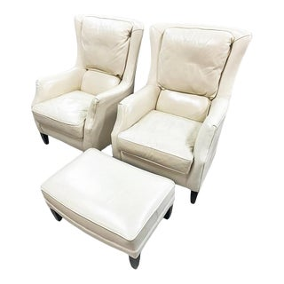 Arhaus Glove Leather Wingback Chairs and Ottoman - 3 Pieces For Sale