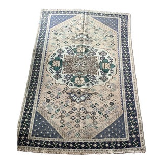 Traditional Esfahan Blue and Ivory Persian Rug -4'7x6'3 For Sale