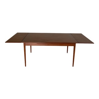 Mid Century Danish Teak Draw Leaf Dining Table For Sale