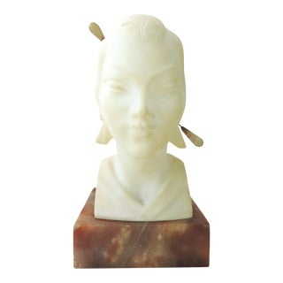 Mid 20th Century Off White Marble Bust of Young Asian Lady With Old Jade Hair Pin For Sale