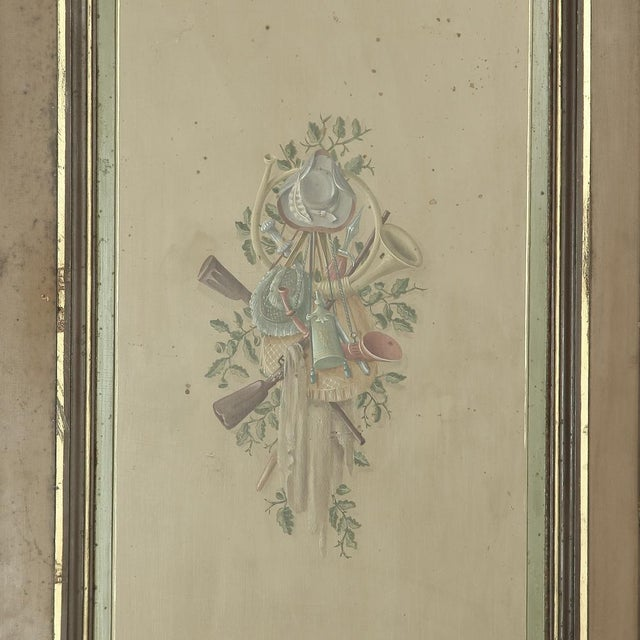 Wood Pair 19th Century French Hand Painted Paneled Interior Doors For Sale - Image 7 of 13