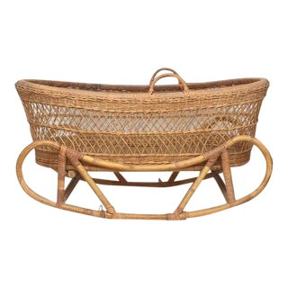 Vintage Rattan Bassinet With Bent Bamboo Rocker Stand For Sale