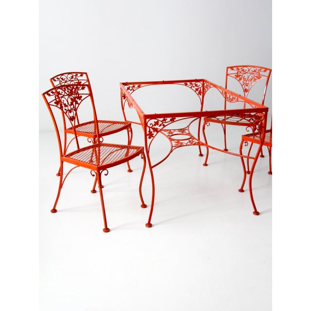 Vintage Orange Wrought Iron Patio Furniture Set Of 5 Chairish