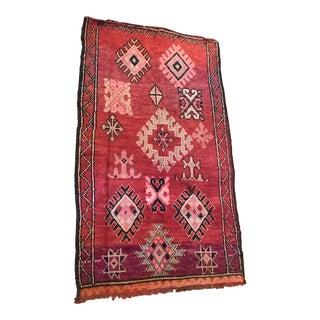 1970s Vintage Moroccan Rug - 3′7″ × 6′2″ For Sale